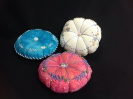 Joan's embroidered pincushions