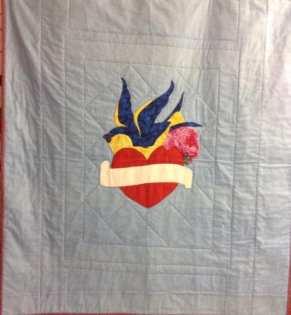 Baby quilt for Arthur and Megan based on Megan's shower invitation design