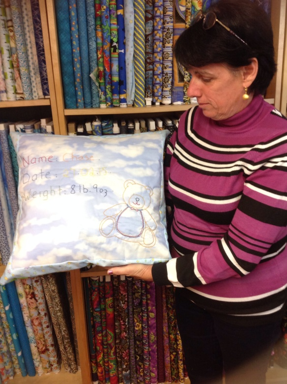 Angie designed and made this cushion as a special present