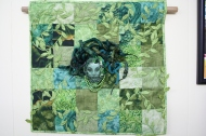 My 2012 challenge quilt - the theme - colour story - face from a pattern in a beading magazine I thought looked like Medusa and had to be green.