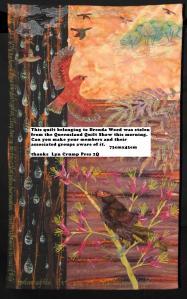 Brenda Wood's quilt stolen from the Quilt Show