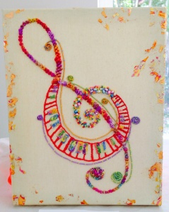 Stephanie produced this sumptuously embroidered treble clef