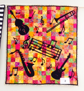 Elaine's wonderfully colourful instrument quilt